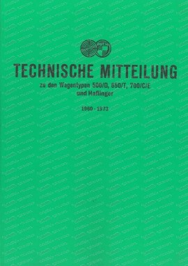 Steyr Puch customer service messages 1960-1973 cars and Haflingers (German)