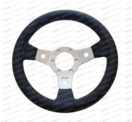 Leather sports steering wheel Libeccio F 31 cm with aluminum spokes