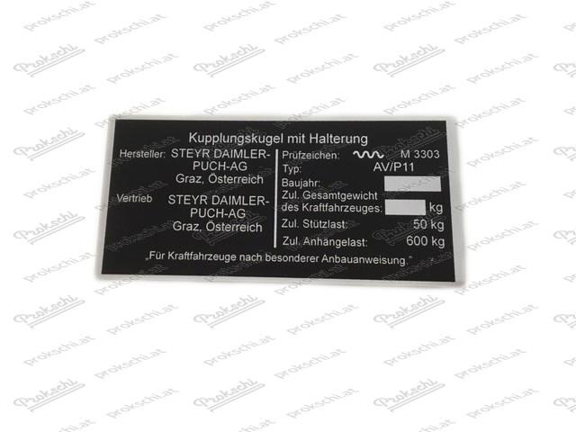 Schild Kupplungskugel m. Halterung