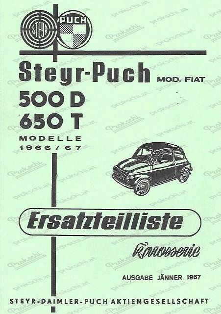 Steyr Puch 500D, 650T - Ersatzteilliste (Europa)