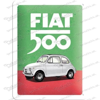 Fiat 500 - Italian Colours - Metallschild