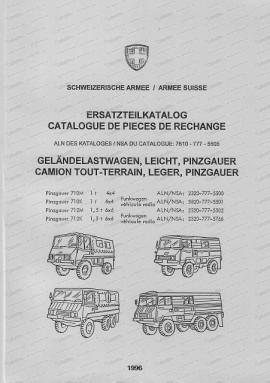Steyr Puch Pinzgauer 710 M/K, 712 M/K, 4 x 4 und 6 x 6, Ersatzteilkatalog (Deutsch und Französisch)