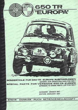 Puch 650 TR Europa, Ersatzteilkatalog für die Sonderteile dieses Modells