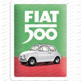 Fiat 500 - Italian Colours - Metallschild