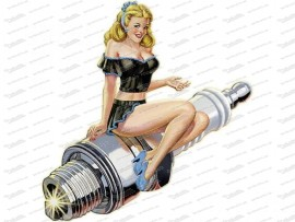 Pinup – Sparkplug – Black Dress – 3D Effekt Metallschild 43x56