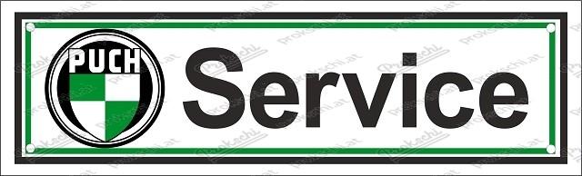 Puch Service – Emailschild – 8 x 30 cm