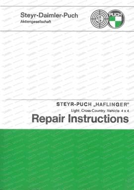 Manuel de réparation Steyr Puch Haflinger 4 x 4 (anglais)