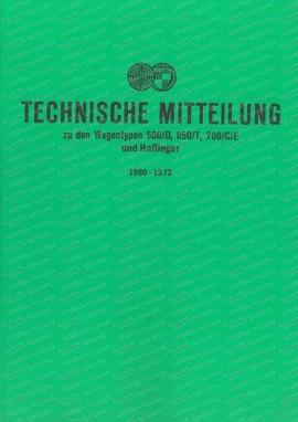 Messages du service client Steyr Puch 1960-1973 voitures et Haflingers (Allemand)
