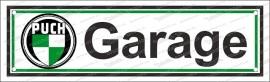 Puch Garage – Emailschild 8 x 30 cm