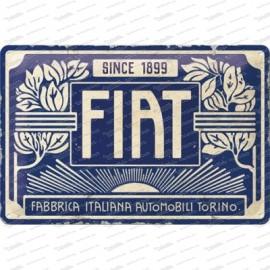 Fiat 500 depuis 1899 - logo vintage - plaque métallique